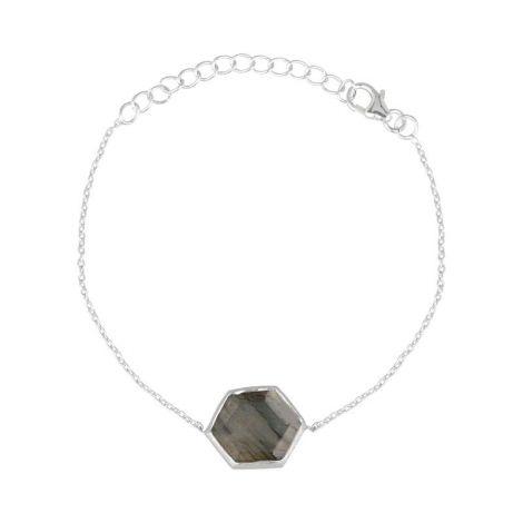 Hexagon Bracelet Stone Silver
