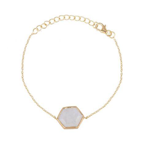 Hexagon Bracelet Stone Gold