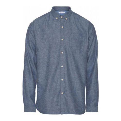 ELDER regular fit melange flannel shirt - GOTS/Vegan 1188 Dark Denim