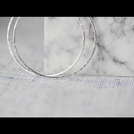 Silber Creolen 57mm // Hammerschlag