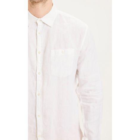 LARCH LS linen shirt 1010 Bright White