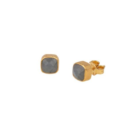 Rounded Square Stone Studs Gold