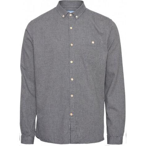 ELDER regular fit melange flannel shirt - GOTS/Vegan 1073 Dark Grey Melange