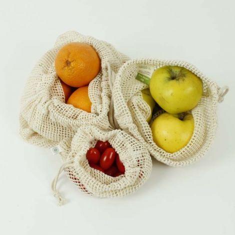 Baumwoll-Mesch Einkaufstaschen, 3er Set