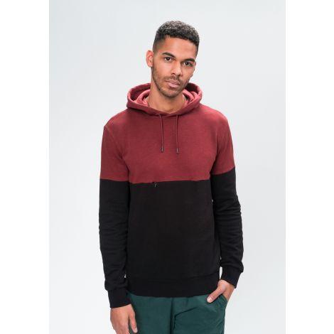 Hoodie #BLOCK autumn red / black
