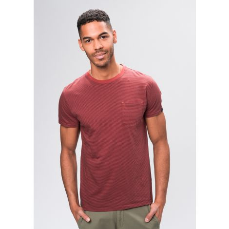 Casual T-Shirt #POCKET navy / brick red