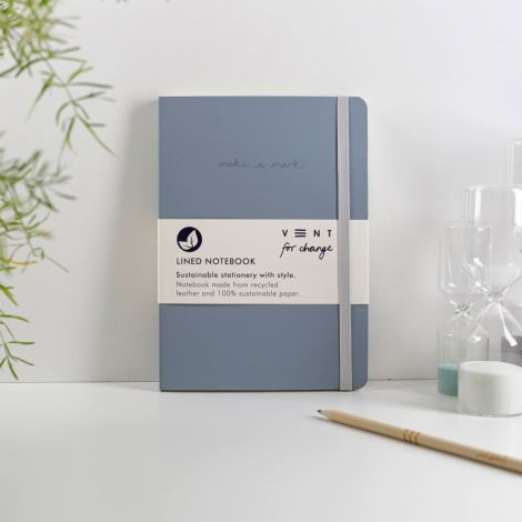 Notizbuch 'Make a Mark' A5 Recycled Leather Lined - Dusty Blue