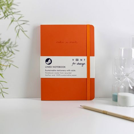Notizbuch 'Make a Mark' A5 Recycled Leather Lined - Orange