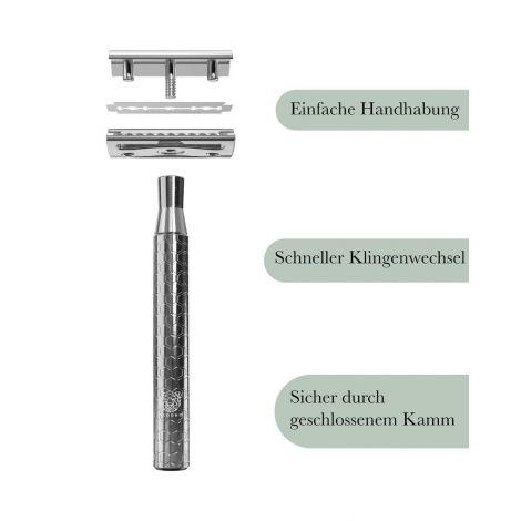 Rasierhobel Metall silber MINOUK + 5 Klingen