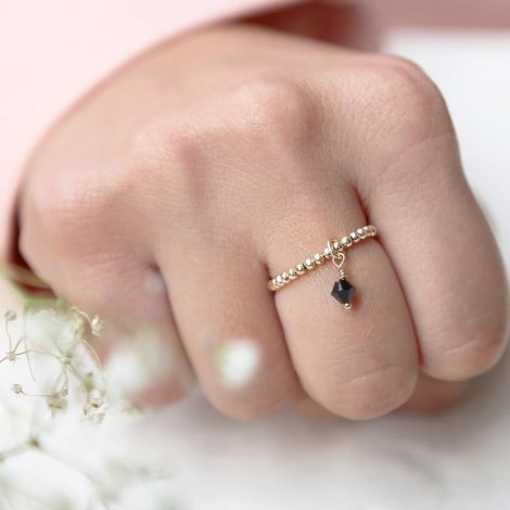 Enya Ring: Medium / Gold Filled / Black