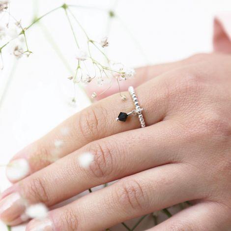Enya Ring: Medium / Sterling Silver / Black