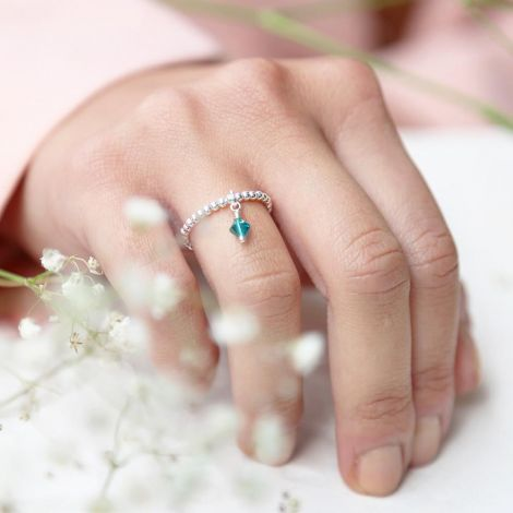 Enya Ring: Medium / Sterling Silver / Emerald
