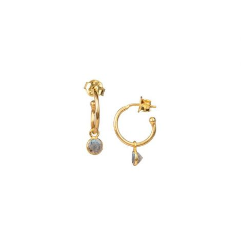 Hoops with Round Drop Gold