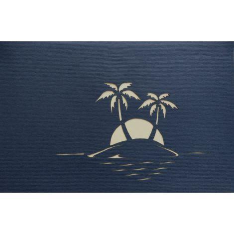 3D Pop-up Palme auf Insel blau