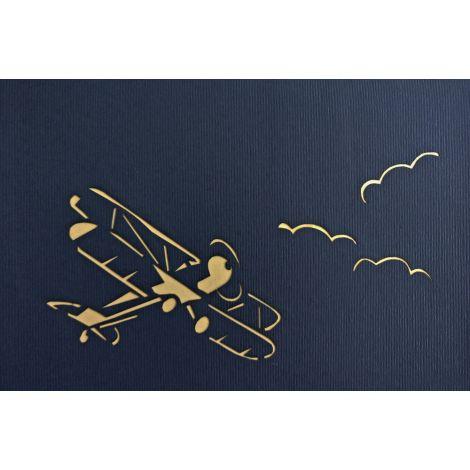 3D Pop-up Flugzeug blau