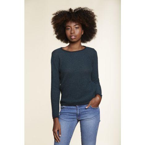 Round Neck Sweater blue chine