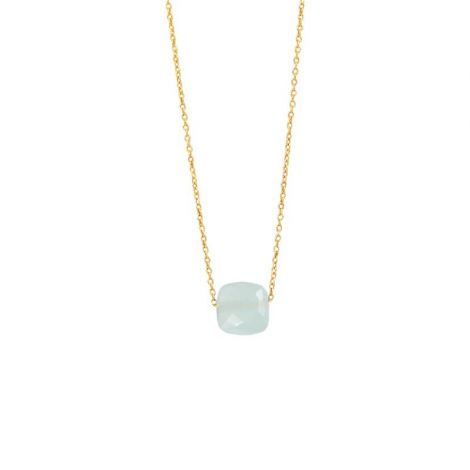 Fine Chain with Square Faceted Stone Gold