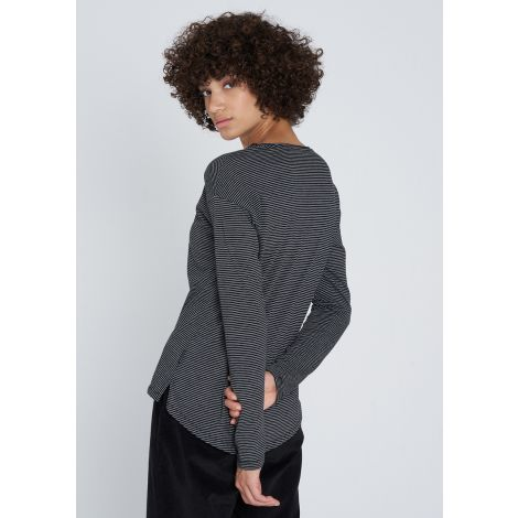 Casual Longsleeve #STRIPES grey melange / black
