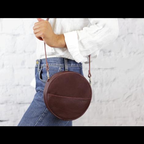 Eco Leder Tasche Rund Alma Marsala