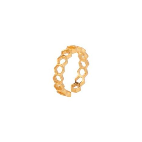 Hexagon Links Band Ring Gold