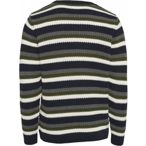 Striped rib o-neck