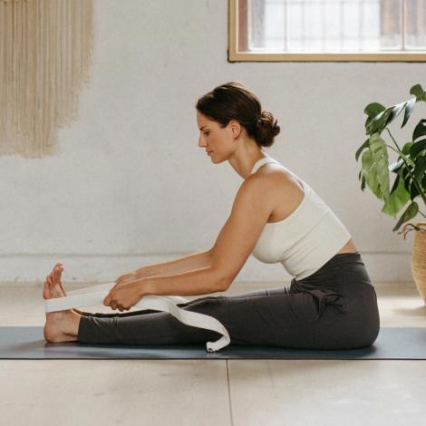 Yoga-Gurt 100% Bio-Baumwolle Anthracit